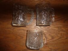 Batman Forever 3 McDonalds Etched Glass Collector Cups 1995 Made in USA/France