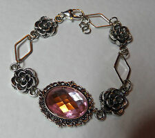 VICTORIAN STYLE - DIAMOND ROSE - PINK ACRYLIC CRYSTAL SILVER PLATED BRACELET DR