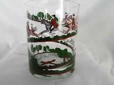 VINTAGE 3 HUNT THEME HORSE GLASSES IN BRIGHT COLORS AS THEY RIDE THE FIELD -