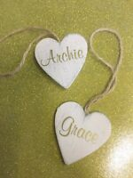 Personalised shabby chic hanging wooden heart, christmas decoration any name