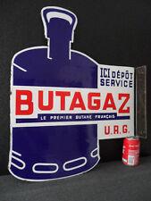 Vintage French Butagaz / Butane Gas Cylinder Double Sided Porcelain Enamel Sign