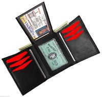 GENUINE LEATHER BLACK MENS PLAIN TRIFOLD WALLET 7 Credit Card Flip Top ID Window