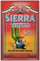Tequila Sierra Argento Goffrato Insegna Acciaio 300mm x 200mm (Hi