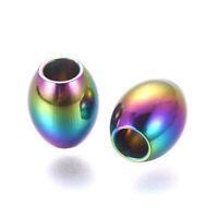 20pcs Multi-color 304 Stainless Steel Oval Beads Smooth Mini Loose Beads 5~7mm
