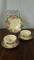 Set of 2 Franciscan Desert Rose Tea Cups and Saucers & Small Plate made England