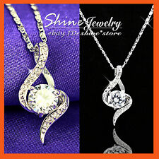 18K GOLD GF P08 INFINITY WEDDING SIMULATED DIAMONDS SOLID NECKLACE PENDANT GIFT