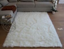 White Color 5'x7' Feet Solid Soft Faux Sheepskin Sheep Hide Area Rug Carpet Rug