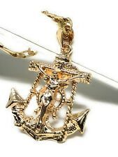 "Jesus Crucifix Anchor Pendant Necklace 26"" Jesus Ancla Crucifijo Cadena Oro Lamí"