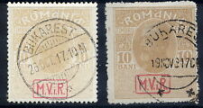 GERMAN MILITARY POST IN ROMANIA 1917 (Sep.) postal tax 10b. on both papers, used