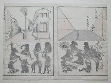 Hokusai Manga Arquitectura & isleños Original xilografía japonesa impresión xilografía