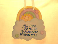 HANGING ORNAMENT BABY ROOM YELLOW BLUE MAUVE GREEN PINK SIGN OF THE TIMES ENESCO
