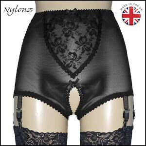 NYLONZ Vintage Style Crotchless 6 Strap Girdle BLACK - Made In UK