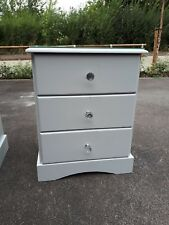 Side Cabinet Table Storage Unit With 3 Drawers Living Room Furniture Grey