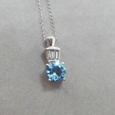 Women's 14k White Gold Blue Topaz Baguette Diamond Necklace Pendant Chain 15""