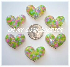6PC PASTEL MULTI DOT ACRYLIC CANDY HEARTS FLATBACK RESINS 4 HAIRBOW BOW CENTER