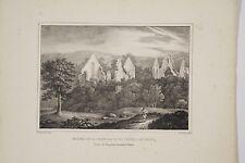Lithographie 1828 Ruines de la Chapelle et du Château du Thuit arr. Falaise