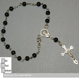 Bracelet Strand Cristiano Rosary Black Pearl 6mm New of Your Choice