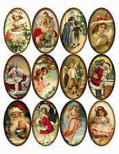 Christmas 12  large vintage pictures oval stickers scrapbooking crafts  glossy