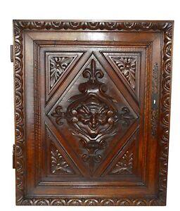 French Antique Gothic Hand Carved Walnut Wood Door Panel - Renaissance Mascaron