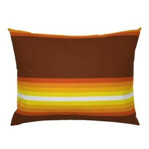 Retro Classic 60S 70S Stripe Gradient Stripe Brown Pillow Sham by Roostery