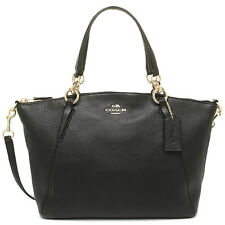 Coach Small Kelsey Satchel in Pebble Leather Black - F36675