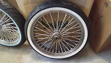 ALL CHROME  21 X 3.5 FAT SPOKE WHEEL DD w WWW TIRE HARLEY, TOURING FLT/FLH 00-07