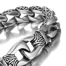 MENDINO Men's 316L Stainless Steel Bracelet Handcuffs Dragon Bangle Chain Silver