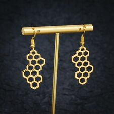 Gold and Silver Plated Hexagon Honeycomb Inspired hook Earrings,Bee and Honey