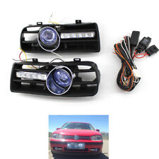 2X Bumper Grill Blue Fog Light W/LED DRL Lamp fit for VW Golf MK4 97-03 Set Blue