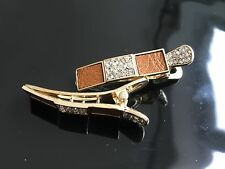 Real Leather Pair Square Hair Clips Elegent sparkly Gift UK Seller MustardBrown