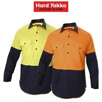 Mens Hard Yakka Shirt Hi-Vis Closed Gusset Long Sleeve Work Safety Cotton Y07984