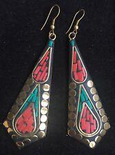 Bohocoho ECCENTRICO Stile Boho Gypsy 70 S Rosso e Verde Mosaico Dangle Orecchini Pendenti