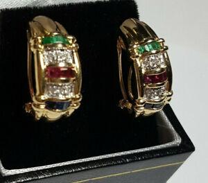 14k Yellow Gold Diamond, Sapphire, Emerald & Ruby Earrings
