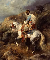 Oil painting Adolf Schreyer - arabischer reiter an einter tranke arab horseman