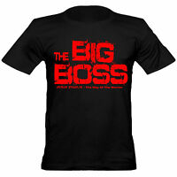 Mens Bruce Lee Inspired The Big Boss Crew Neck Cotton Fitted T-Shirt / Black