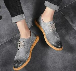 Mens Retro Spring Carved Brogue Breathable Suede Lace up Wing Tip  Shoes Wild Ne