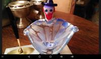 BEAUTIFUL MURANO ART GLASS CLOWN ASH TRAY Blue and Orange