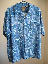 Pineapple Connection Mens Medium Rayon Aloha Shirt Hawaiian Blue Floral