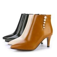 Ladies Shoes Beaded Synthetic Leather High Heels Zip Up Ankle Boots UK Size b104