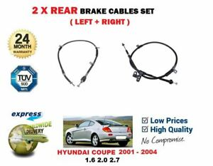 FOR HYUNDAI COUPE HN61 1.6 2.0 2.7 2001-2004 2X REAR LEFT RIGHT HAND BRAKE CABLE