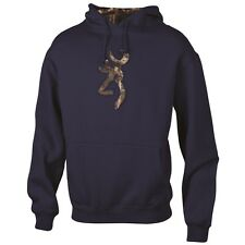 Browning Men's Navy Blue Hoodie, Mossy Oak Camo Camouflage Sweatshirt