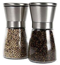 Stainless Steel Salt Pepper Grinder Hand Mill Set Shakers Adjustable Coarseness