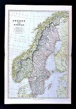 1883 Blackie Map - Sweden Norway Stockholm Oslo Christiansand Gottland Upsala