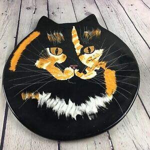 "Cats By Nina Lyman Plate Platter 13"" Painted Art Black Calico Cat Decorative"