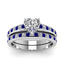 925 Silver Jewelry Heart Shape White Sapphire Romantic Wedding Ring Size 8