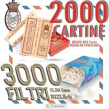 2000 CARTINE BRAVO REX CORTE REGULAR FINISSIME + 3000 FILTRI RIZLA SLIM 6mm