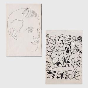 Andy Warhol Rare 1950s Original Male Head / Butterflies Line Drawing ARD400.033