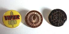 """Battlestar Galactica Enamel/Metal 1.25"""" Pin Set of 3- Free S&H (Bgpi-01/2/3)"""