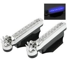 2 PCS 8 Blue LED Bulbs Wind Powered Decorative Car Lights