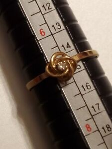 Vintage 14K Yellow Gold Natural Diamond  Knot Ring size 61/2